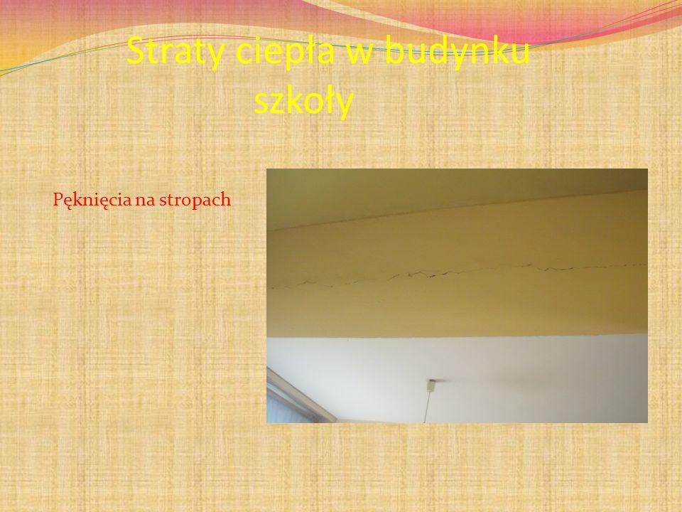 Straty ciepła w budynku szkoły Pęknięcia na stropach