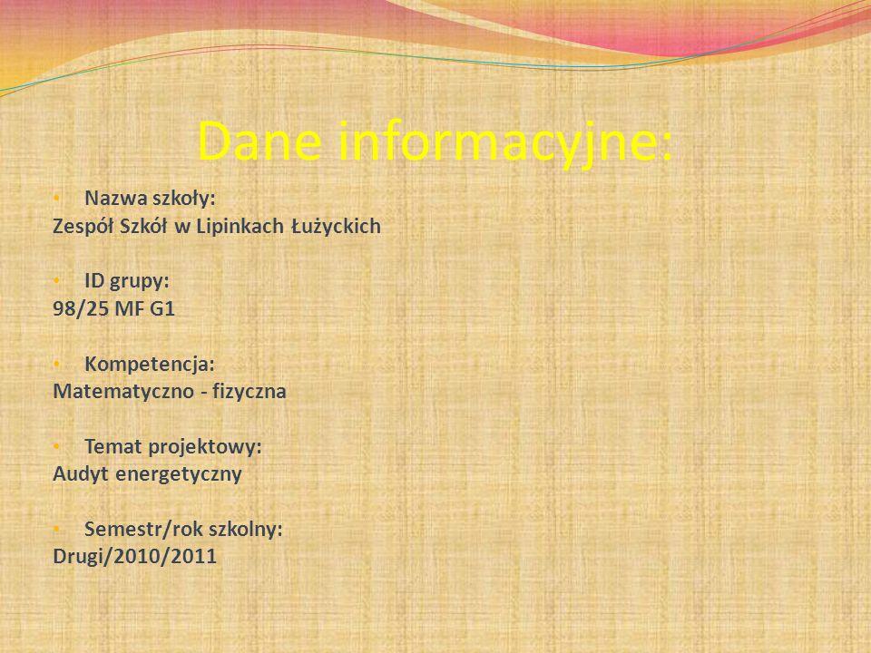 Dane informacyjne: Nazwa szkoły: Zespół Szkół w Lipinkach Łużyckich ID grupy: 98/25 MF G1 Kompetencja: Matematyczno - fizyczna Temat projektowy: Audyt