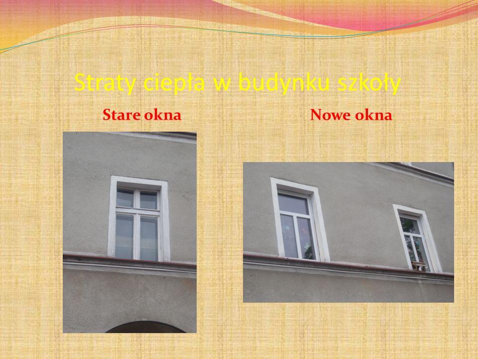 Straty ciepła w budynku szkoły Stare okna Nowe okna