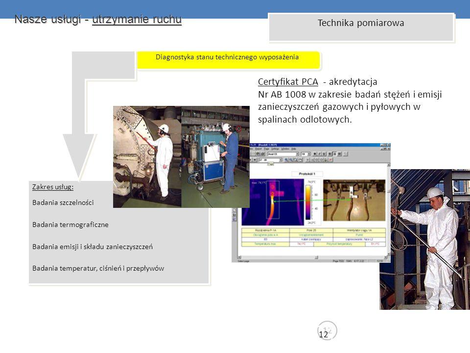 Nasze usługi - utrzymanie ruchu 12 Technika pomiarowa Diagnostyka stanu technicznego wyposażenia Zakres usług: Badania szczelności Badania termografic