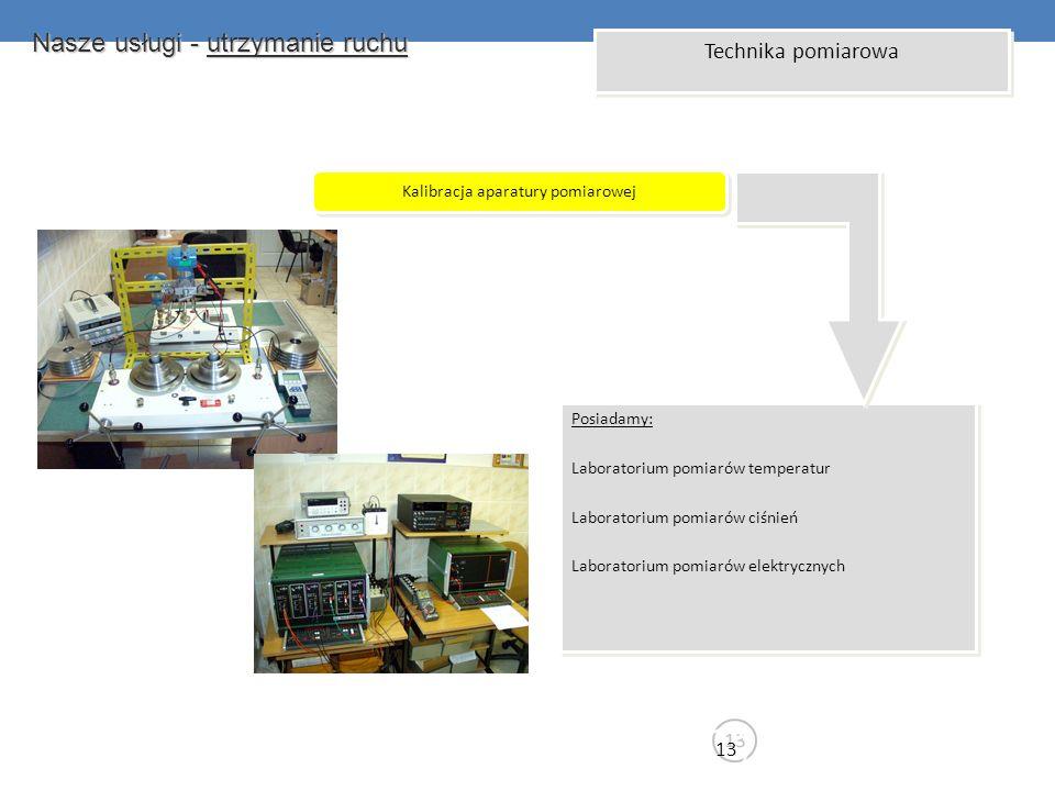 Nasze usługi - utrzymanie ruchu 13 Technika pomiarowa Kalibracja aparatury pomiarowej Posiadamy: Laboratorium pomiarów temperatur Laboratorium pomiaró