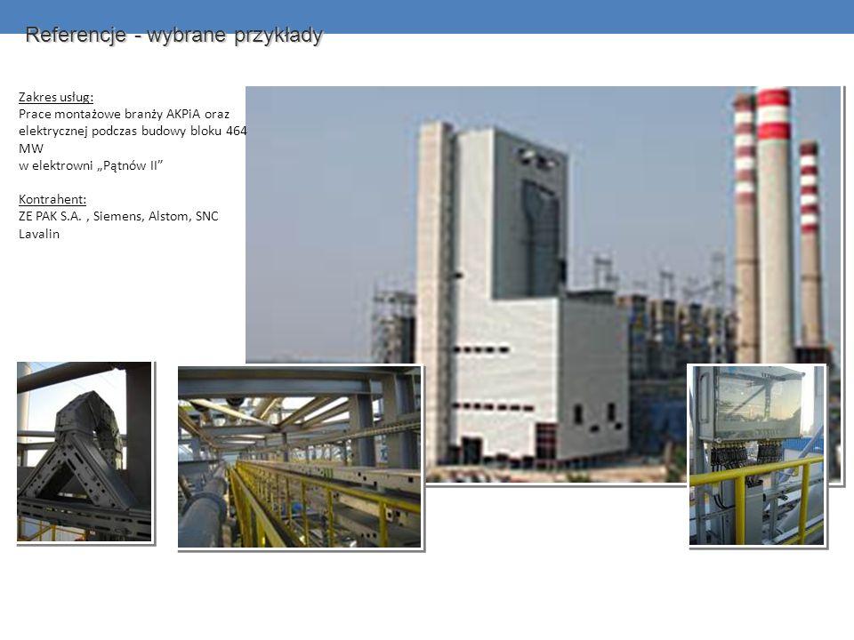 Referencje - wybrane przykłady Zakres usług: Prace montażowe branży AKPiA oraz elektrycznej podczas budowy bloku 464 MW w elektrowni Pątnów II Kontrah