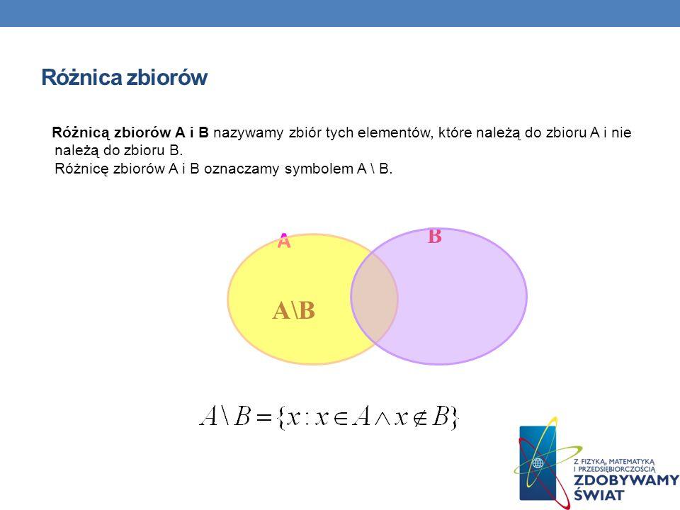 Różnica zbiorów Różnicą zbiorów A i B nazywamy zbiór tych elementów, które należą do zbioru A i nie należą do zbioru B. Różnicę zbiorów A i B oznaczam