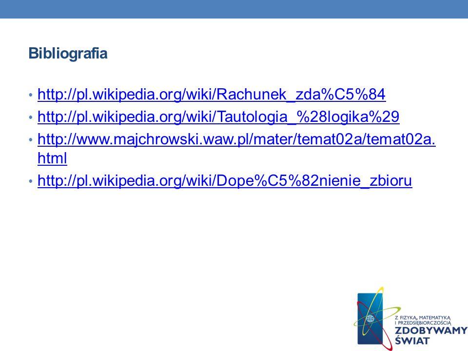 Bibliografia http://pl.wikipedia.org/wiki/Rachunek_zda%C5%84 http://pl.wikipedia.org/wiki/Tautologia_%28logika%29 http://www.majchrowski.waw.pl/mater/