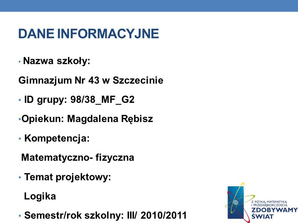 DANE INFORMACYJNE Nazwa szkoły: Gimnazjum Nr 43 w Szczecinie ID grupy: 98/38_MF_G2 Opiekun: Magdalena Rębisz Kompetencja: Matematyczno- fizyczna Temat