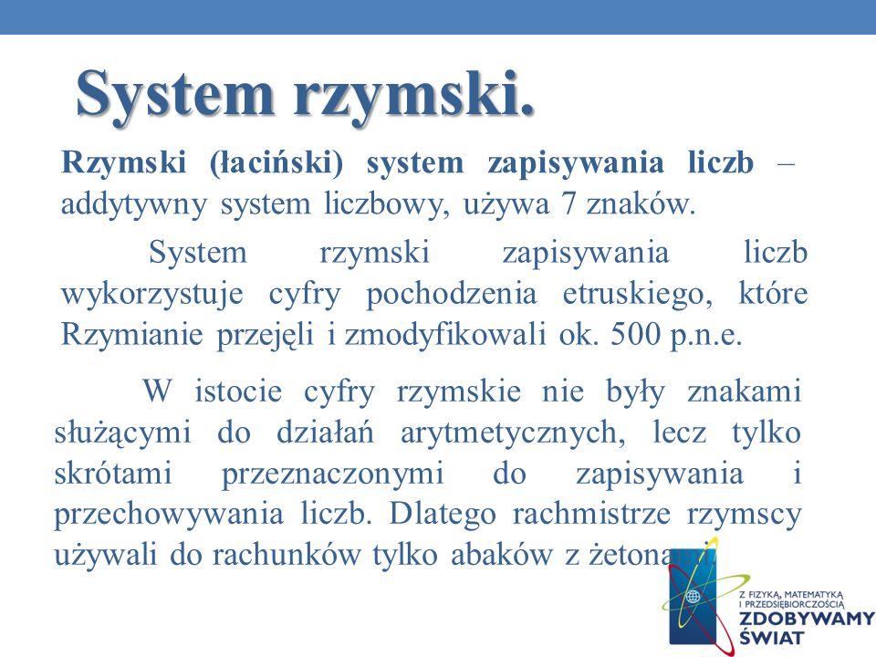 System rzymski. W istocie cyfry rzymskie nie były znakami służącymi do działań arytmetycznych, lecz tylko skrótami przeznaczonymi do zapisywania i prz