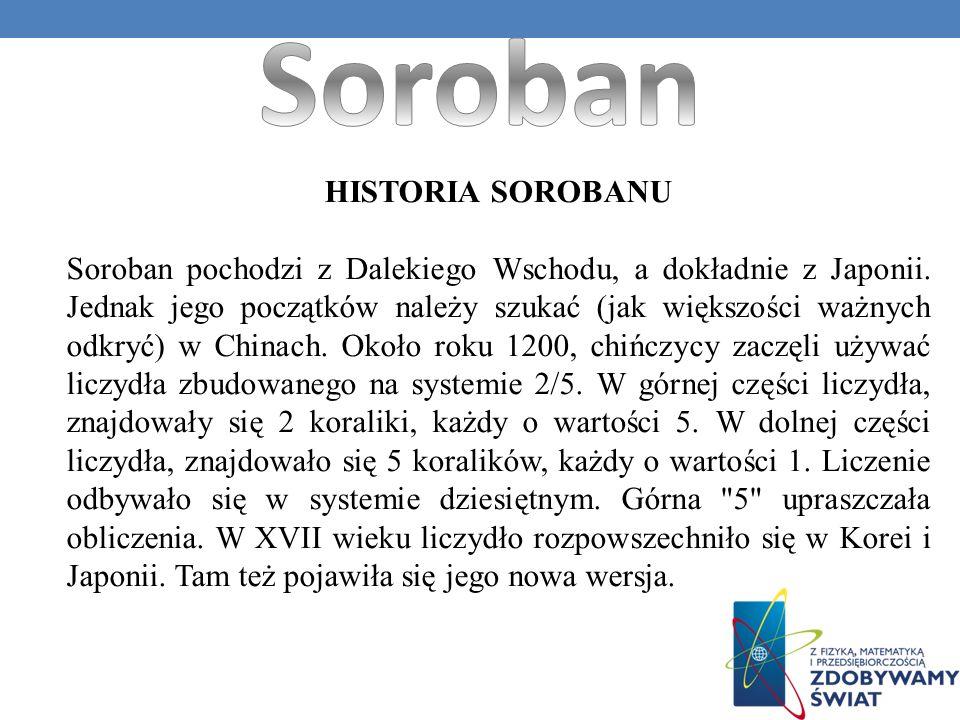 HISTORIA SOROBANU Soroban pochodzi z Dalekiego Wschodu, a dokładnie z Japonii. Jednak jego początków należy szukać (jak większości ważnych odkryć) w C