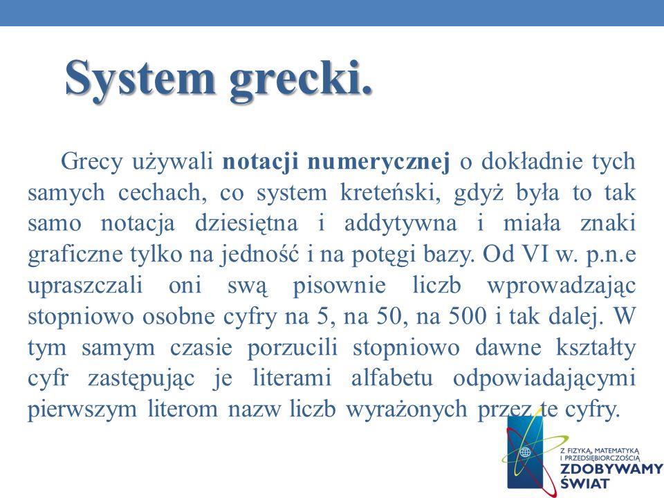 System grecki. Grecy używali notacji numerycznej o dokładnie tych samych cechach, co system kreteński, gdyż była to tak samo notacja dziesiętna i addy