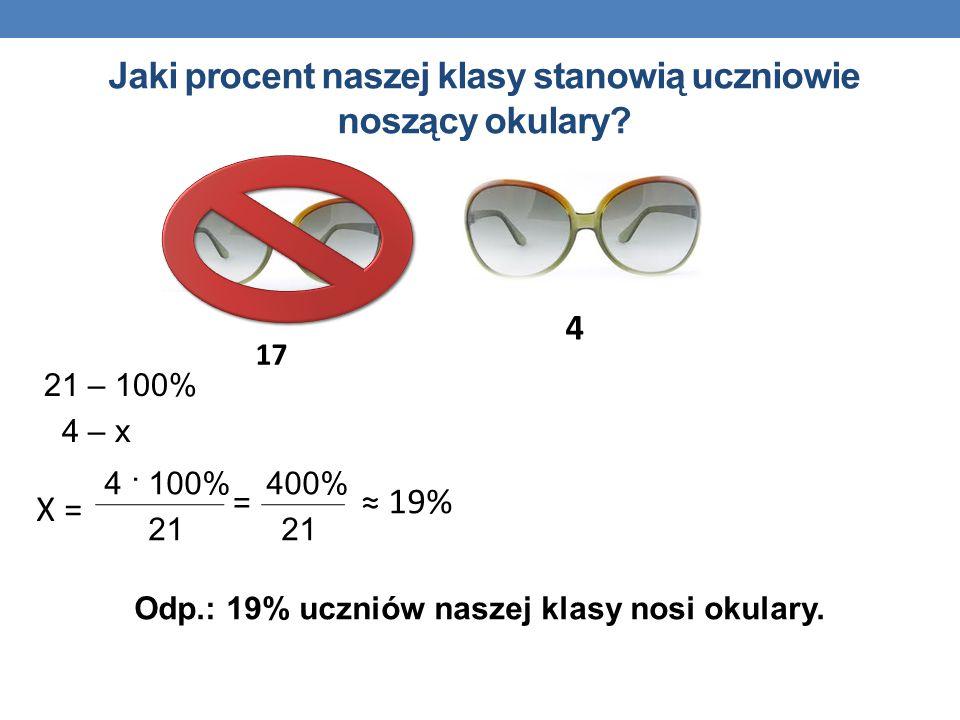 Odp.: 19% uczniów naszej klasy nosi okulary. 21 – 100% 4 – x 4 · 100% 400% 21 21 4 17 = X = 19% Jaki procent naszej klasy stanowią uczniowie noszący o