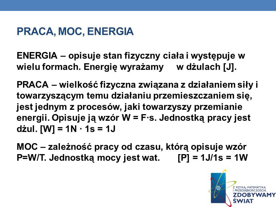 PRACA, MOC, ENERGIA ENERGIA – opisuje stan fizyczny ciała i występuje w wielu formach. Energię wyrażamy w dżulach [J]. PRACA – wielkość fizyczna związ