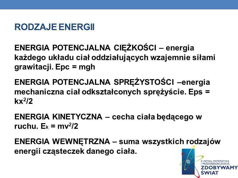 RODZAJE ENERGII ENERGIA POTENCJALNA CIĘŻKOŚCI – energia każdego układu ciał oddziałujących wzajemnie siłami grawitacji. Epc = mgh ENERGIA POTENCJALNA
