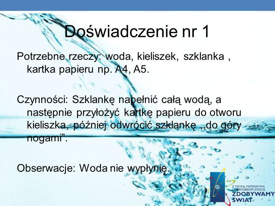 Doświadczenie nr 1 Potrzebne rzeczy: woda, kieliszek, szklanka, kartka papieru np. A4, A5. Czynności: Szklankę napełnić całą wodą, a następnie przyłoż