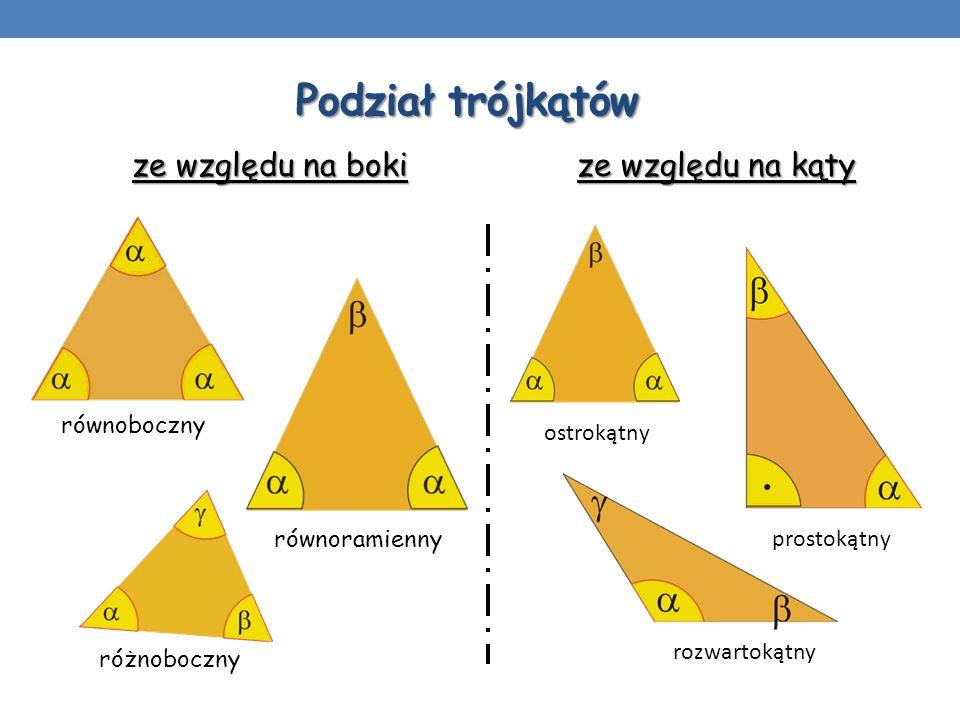 Podział trójkątów ze względu na boki równoboczny równoramienny różnoboczny prostokątny ostrokątny rozwartokątny ze względu na kąty