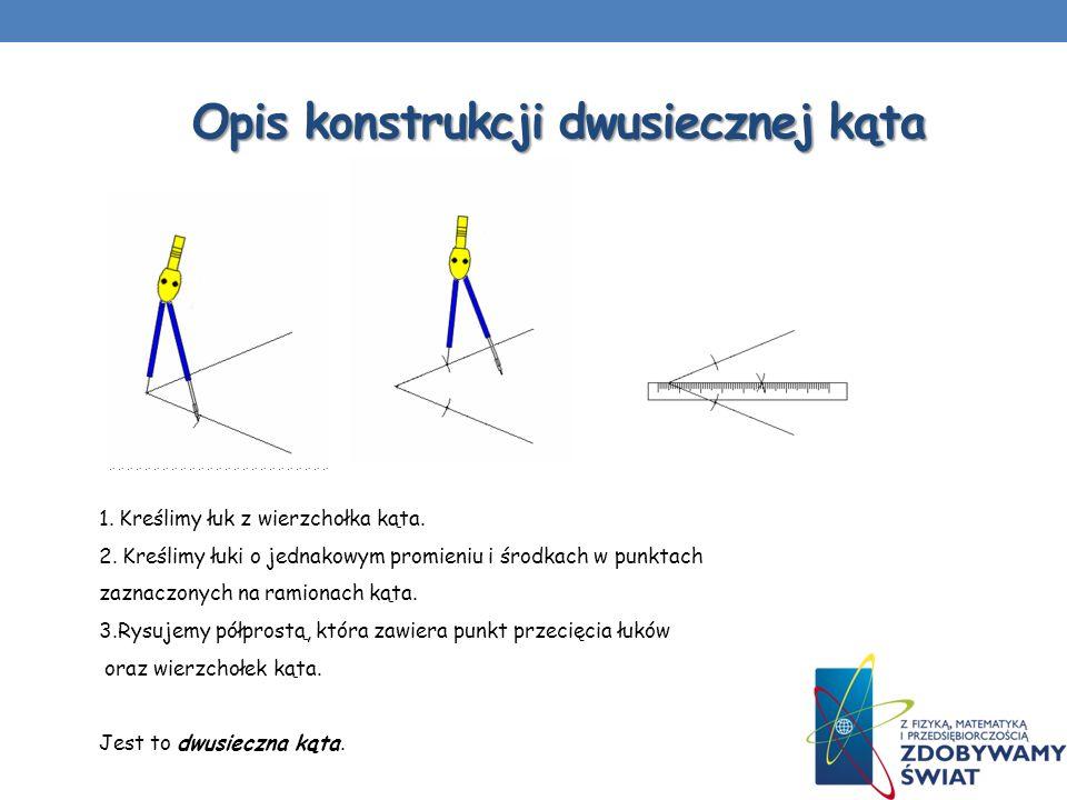 Opis konstrukcji dwusiecznej kąta 1. Kreślimy łuk z wierzchołka kąta. 2. Kreślimy łuki o jednakowym promieniu i środkach w punktach zaznaczonych na ra
