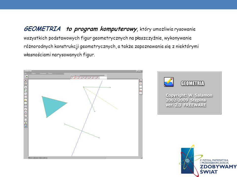 GEOMETRIA to program komputerowy, który umożliwia rysowanie wszystkich podstawowych figur geometrycznych na płaszczyźnie, wykonywanie różnorodnych kon