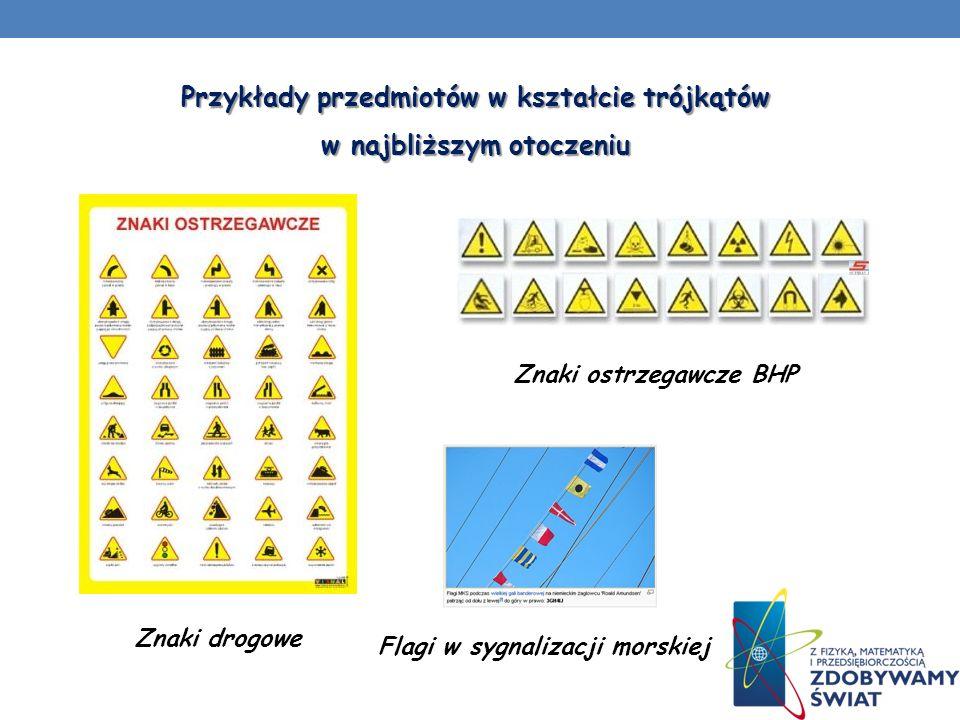 Znaki drogowe Flagi w sygnalizacji morskiej Znaki ostrzegawcze BHP Przykłady przedmiotów w kształcie trójkątów w najbliższym otoczeniu