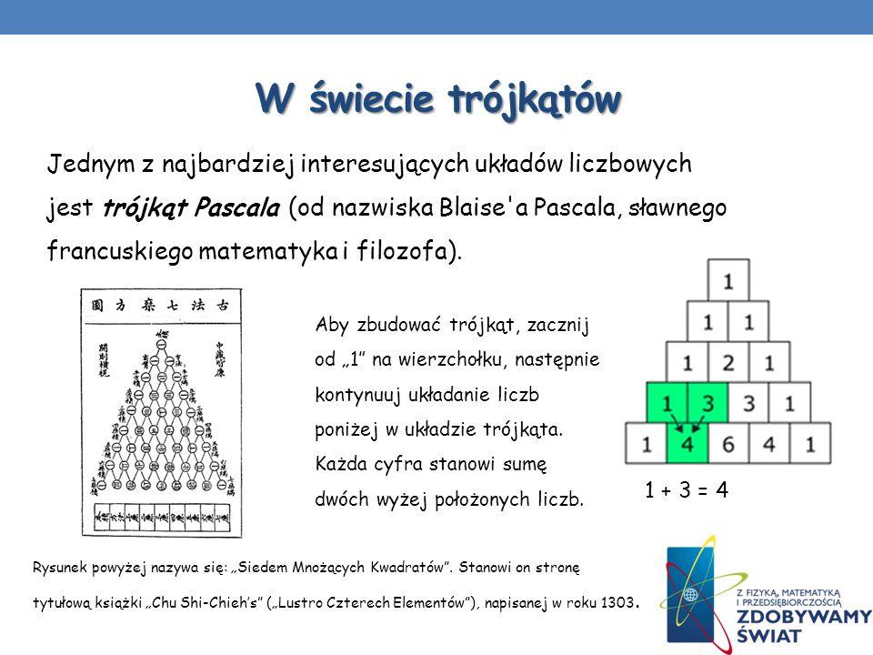 W świecie trójkątów Jednym z najbardziej interesujących układów liczbowych jest trójkąt Pascala (od nazwiska Blaise'a Pascala, sławnego francuskiego m