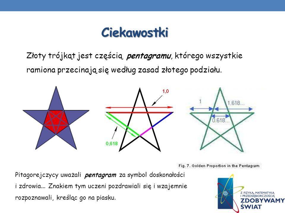 Ciekawostki Złoty trójkąt jest częścią pentagramu, którego wszystkie ramiona przecinają się według zasad złotego podziału. Pitagorejczycy uważali pent