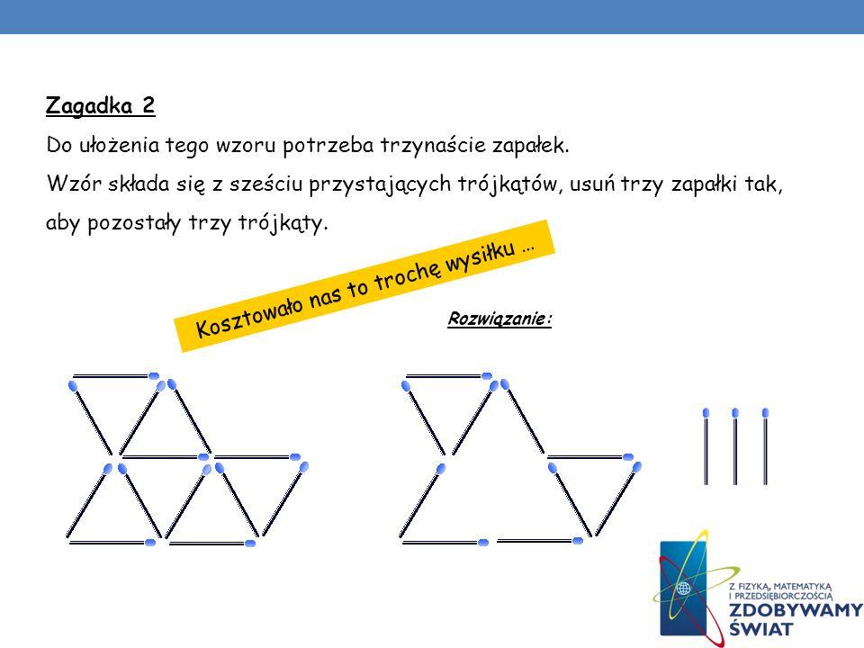 Kosztowało nas to trochę wysiłku … Zagadka 2 Do ułożenia tego wzoru potrzeba trzynaście zapałek. Wzór składa się z sześciu przystających trójkątów, us
