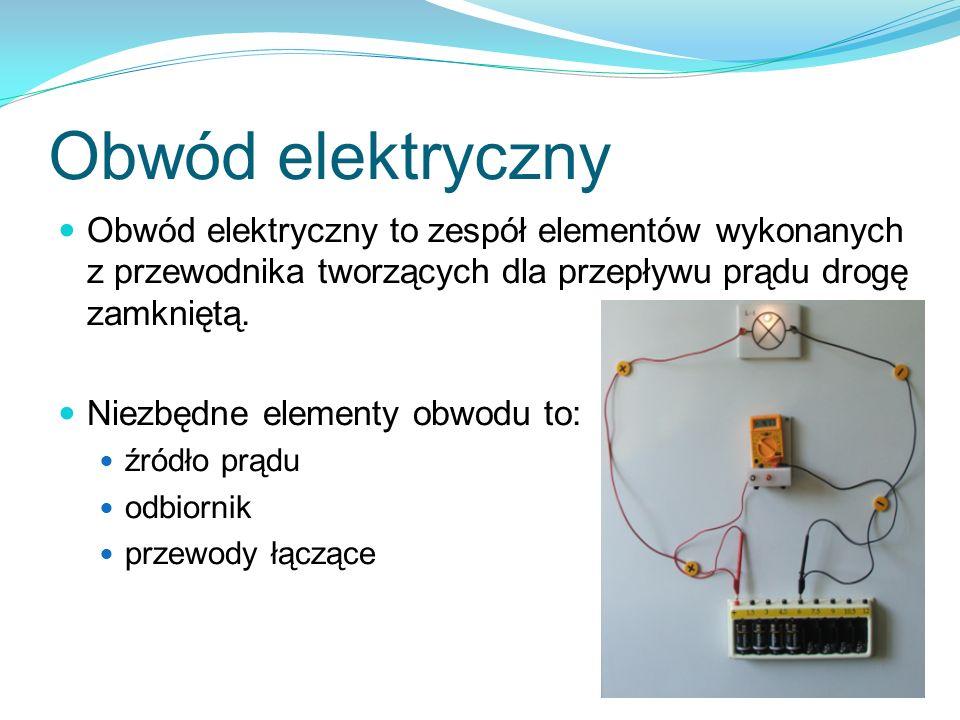 Obwód elektryczny Obwód elektryczny to zespół elementów wykonanych z przewodnika tworzących dla przepływu prądu drogę zamkniętą. Niezbędne elementy ob