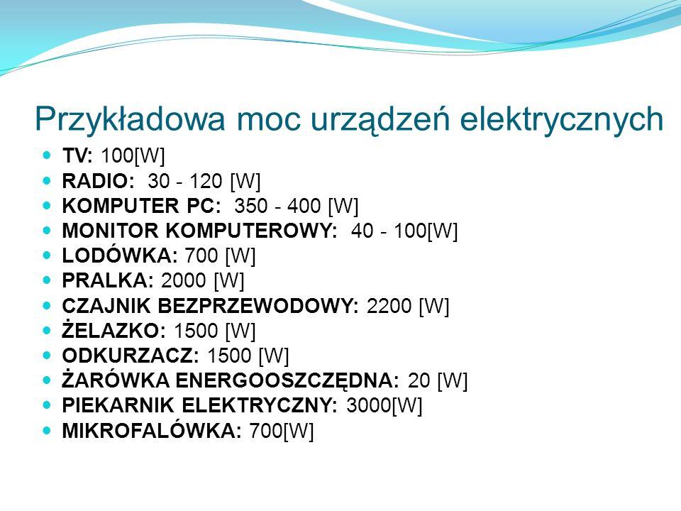 Przykładowa moc urządzeń elektrycznych TV: 100[W] RADIO: 30 - 120 [W] KOMPUTER PC: 350 - 400 [W] MONITOR KOMPUTEROWY: 40 - 100[W] LODÓWKA: 700 [W] PRA