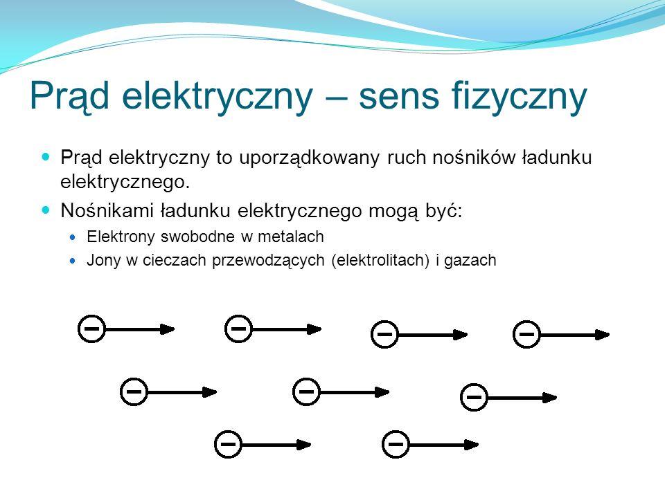 Prąd elektryczny – sens fizyczny Prąd elektryczny to uporządkowany ruch nośników ładunku elektrycznego. Nośnikami ładunku elektrycznego mogą być: Elek