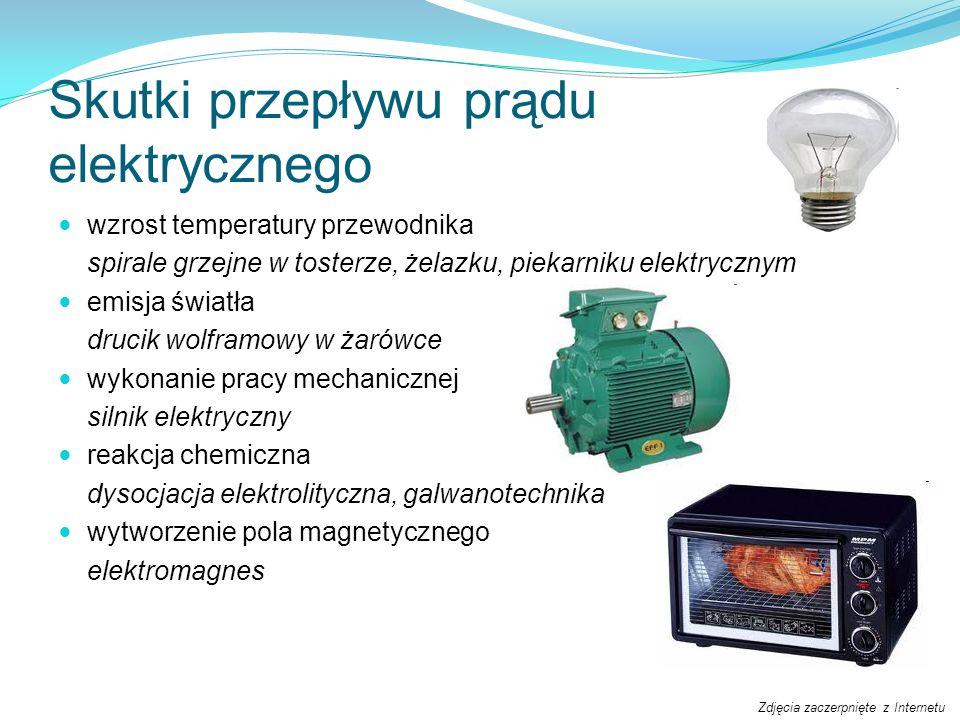 Skutki przepływu prądu elektrycznego wzrost temperatury przewodnika spirale grzejne w tosterze, żelazku, piekarniku elektrycznym emisja światła drucik