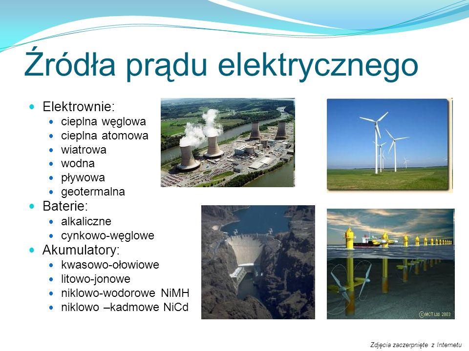 Źródła prądu elektrycznego Elektrownie: cieplna węglowa cieplna atomowa wiatrowa wodna pływowa geotermalna Baterie: alkaliczne cynkowo-węglowe Akumula