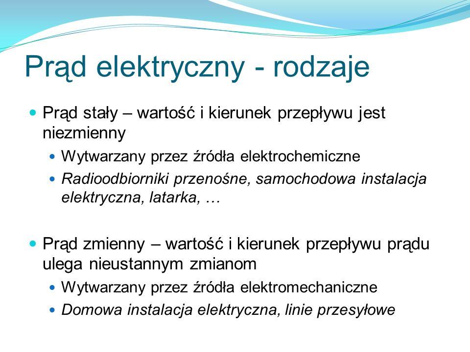 Prąd elektryczny - rodzaje Prąd stały – wartość i kierunek przepływu jest niezmienny Wytwarzany przez źródła elektrochemiczne Radioodbiorniki przenośn