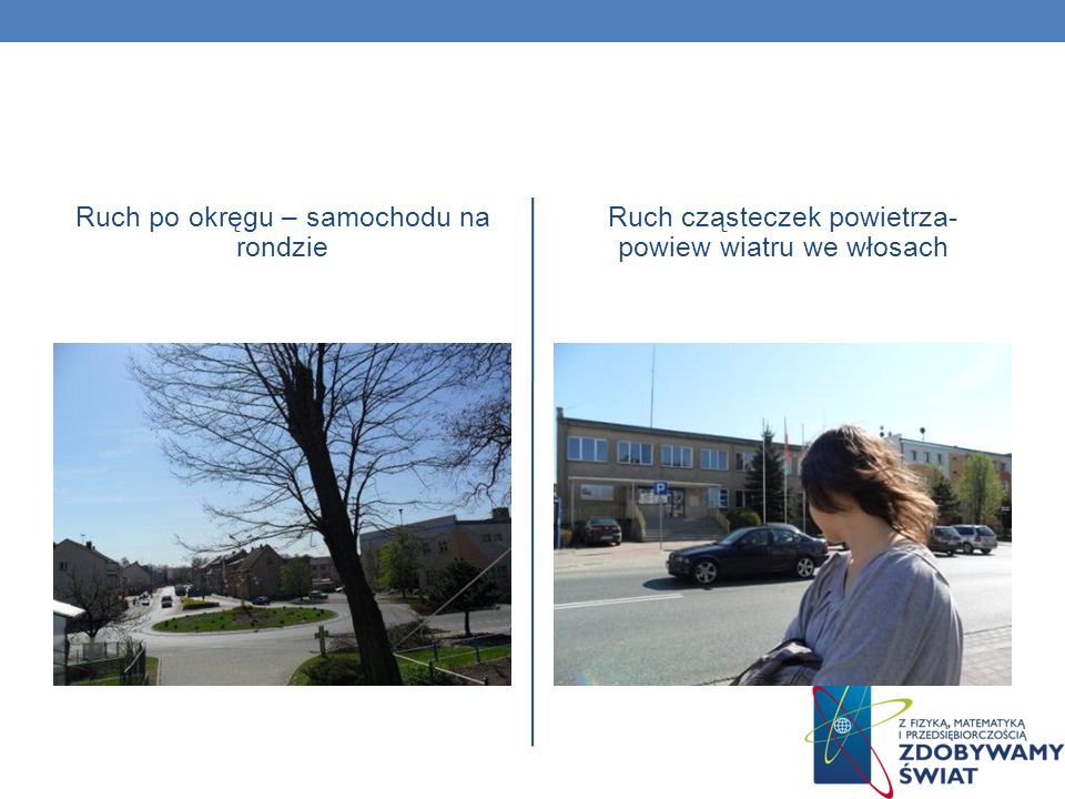Ruch po okręgu – samochodu na rondzie Ruch cząsteczek powietrza- powiew wiatru we włosach