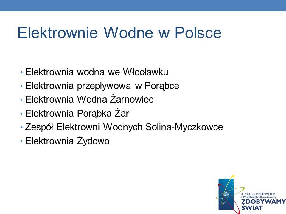 Elektrownie Wodne w Polsce Elektrownia wodna we Włocławku Elektrownia przepływowa w Porąbce Elektrownia Wodna Żarnowiec Elektrownia Porąbka-Żar Zespół