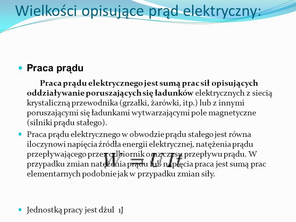 Wielkości opisujące prąd elektryczny: Praca prądu Praca prądu elektrycznego jest sumą prac sił opisujących oddziaływanie poruszających się ładunków el