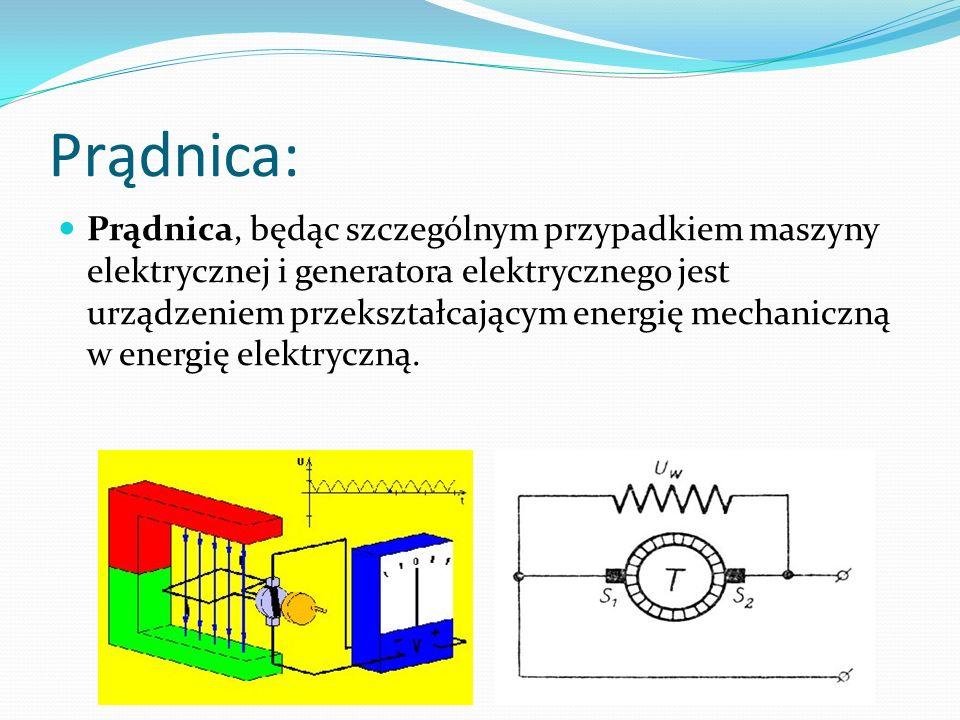 Prądnica: Prądnica, będąc szczególnym przypadkiem maszyny elektrycznej i generatora elektrycznego jest urządzeniem przekształcającym energię mechanicz