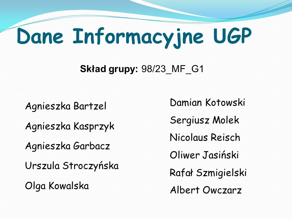 Dane Informacyjne U GP Agnieszka Bartzel Agnieszka Kasprzyk Agnieszka Garbacz Urszula Stroczyńska Olga Kowalska Skład grupy: 98/23_MF_G1 Damian Kotows