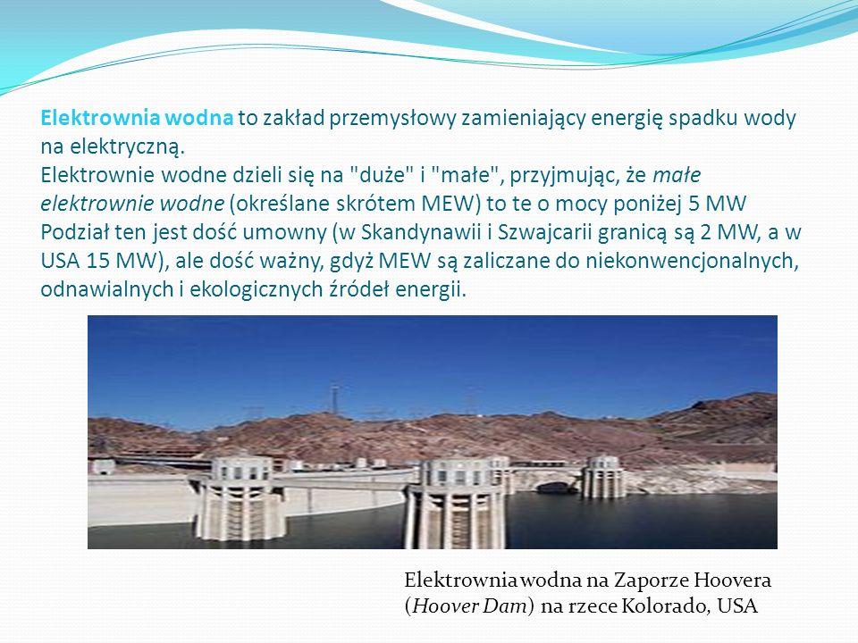 Elektrownia wodna to zakład przemysłowy zamieniający energię spadku wody na elektryczną. Elektrownie wodne dzieli się na