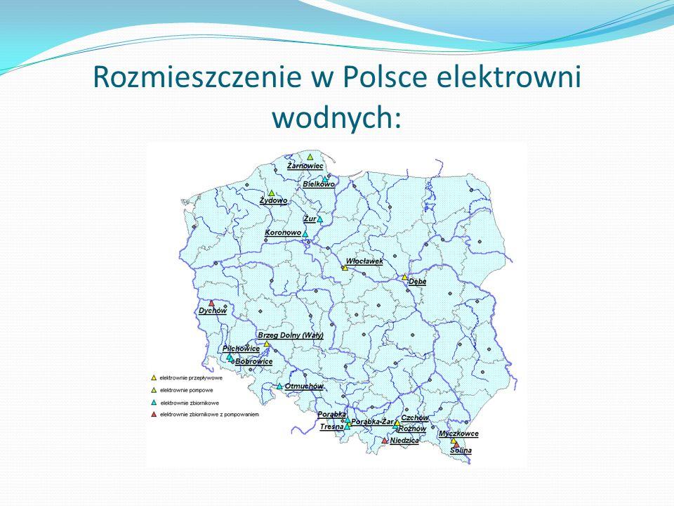 Rozmieszczenie w Polsce elektrowni wodnych: