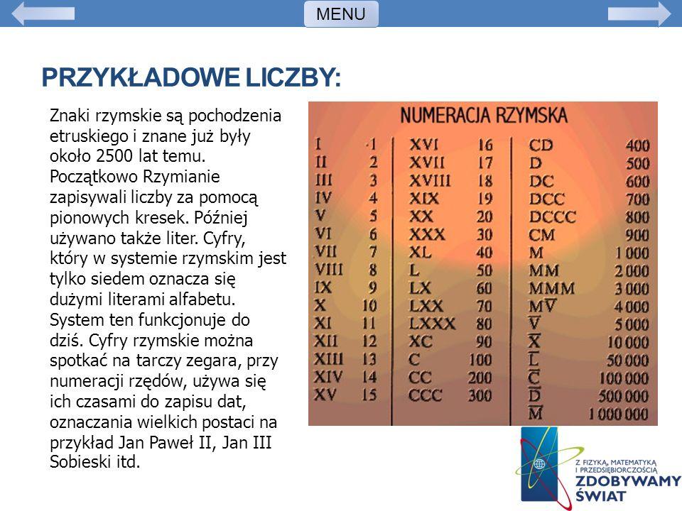PRZYKŁADOWE LICZBY: Znaki rzymskie są pochodzenia etruskiego i znane już były około 2500 lat temu. Początkowo Rzymianie zapisywali liczby za pomocą pi