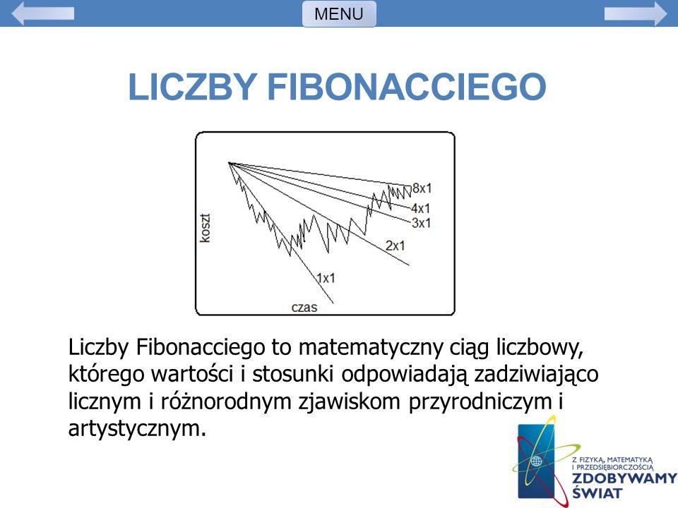 LICZBY FIBONACCIEGO Liczby Fibonacciego to matematyczny ciąg liczbowy, którego wartości i stosunki odpowiadają zadziwiająco licznym i różnorodnym zjaw