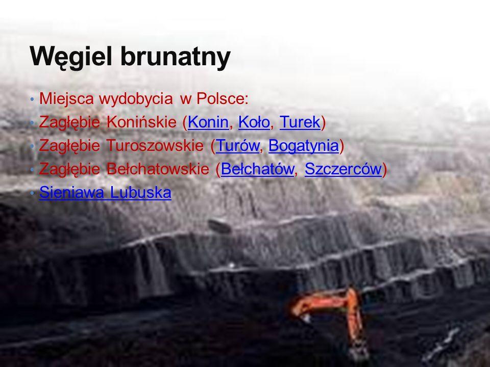 Węgiel brunatny Miejsca wydobycia w Polsce: Zagłębie Konińskie (Konin, Koło, Turek)KoninKołoTurek Zagłębie Turoszowskie (Turów, Bogatynia)TurówBogatyn