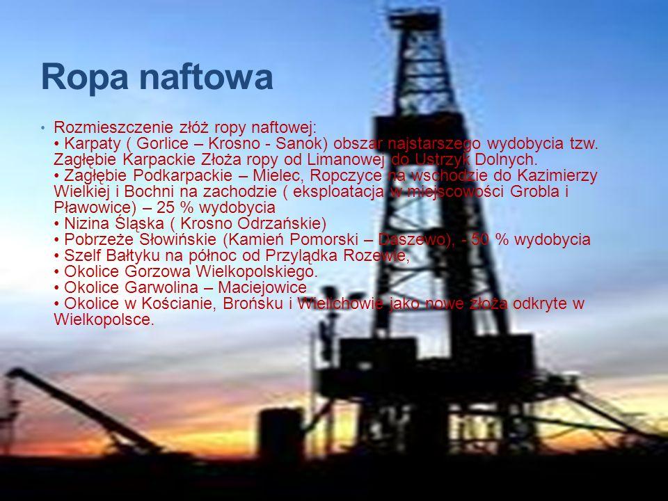 Ropa naftowa Rozmieszczenie złóż ropy naftowej: Karpaty ( Gorlice – Krosno - Sanok) obszar najstarszego wydobycia tzw. Zagłębie Karpackie Złoża ropy o