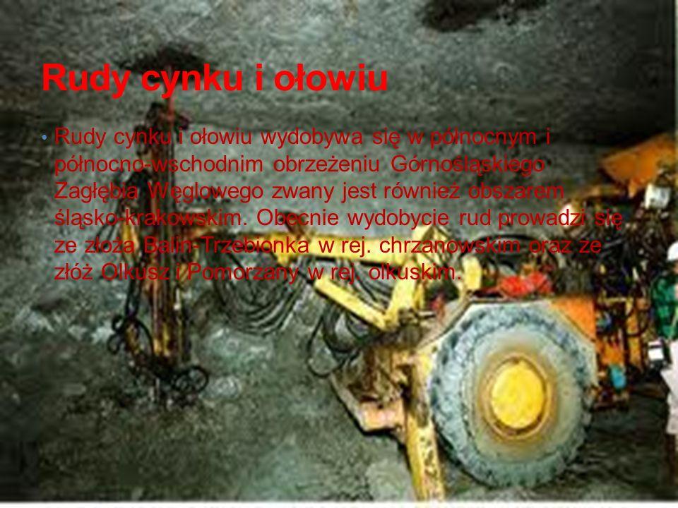 Rudy cynku i ołowiu Rudy cynku i ołowiu wydobywa się w północnym i północno-wschodnim obrzeżeniu Górnośląskiego Zagłębia Węglowego zwany jest również