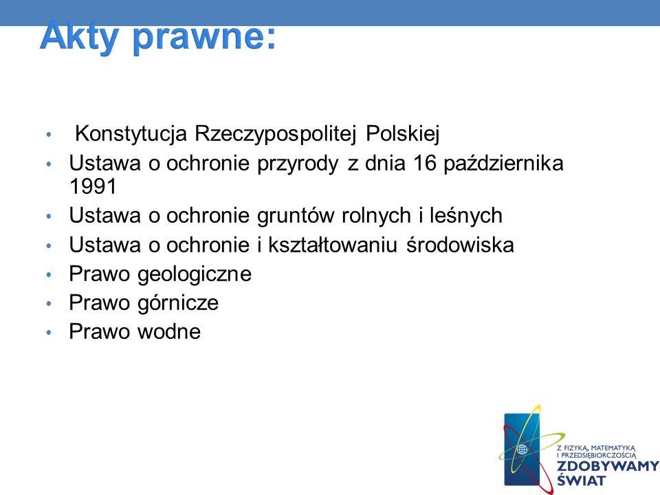 Konstytucja Rzeczypospolitej Polskiej Ustawa o ochronie przyrody z dnia 16 października 1991 Ustawa o ochronie gruntów rolnych i leśnych Ustawa o ochr