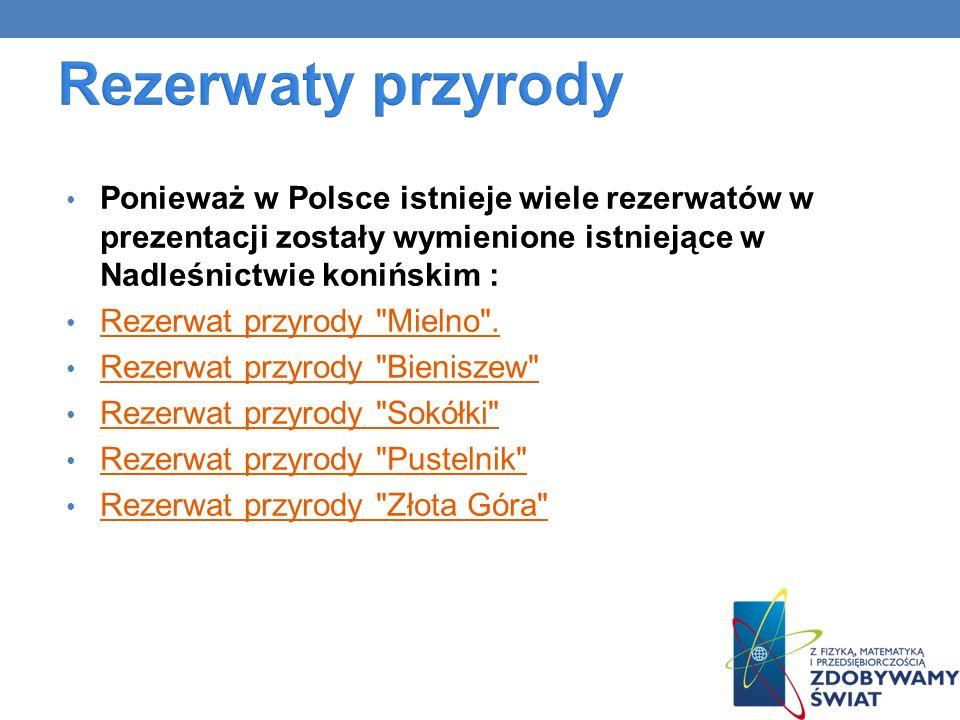 Ponieważ w Polsce istnieje wiele rezerwatów w prezentacji zostały wymienione istniejące w Nadleśnictwie konińskim : Rezerwat przyrody