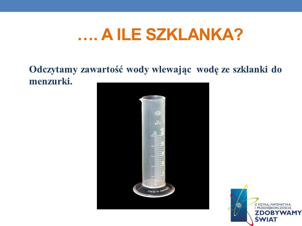 …. A ILE SZKLANKA? Odczytamy zawartość wody wlewając wodę ze szklanki do menzurki.