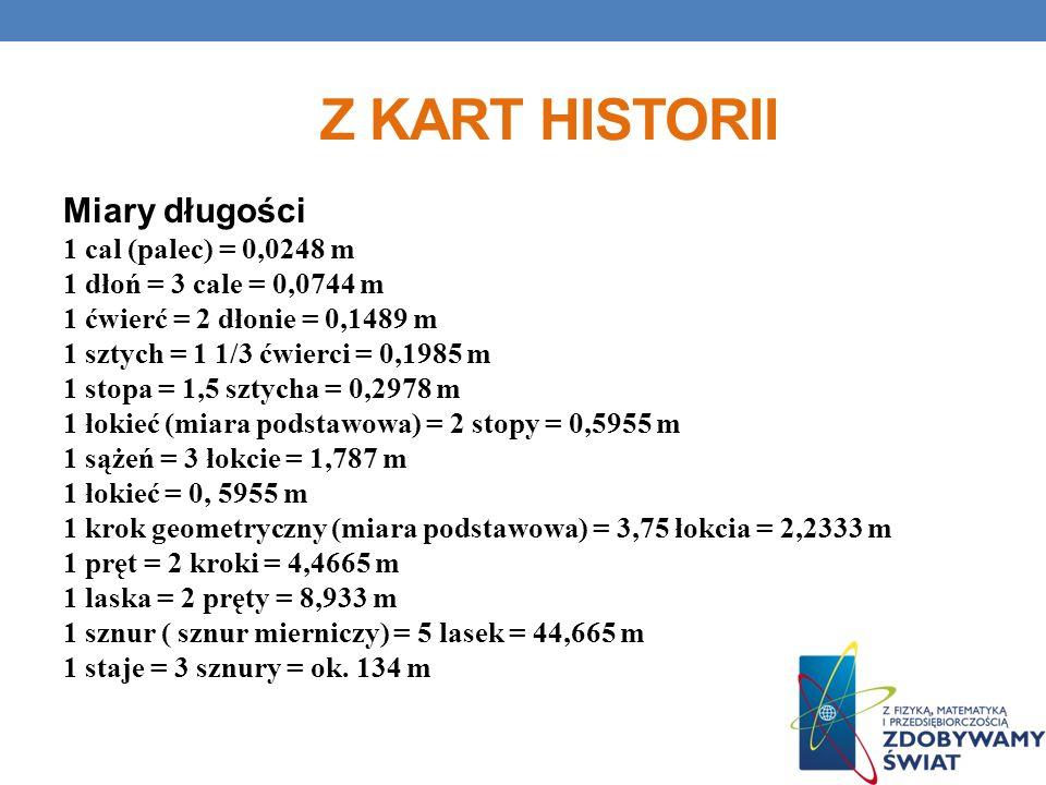 Z KART HISTORII Miary długości 1 cal (palec) = 0,0248 m 1 dłoń = 3 cale = 0,0744 m 1 ćwierć = 2 dłonie = 0,1489 m 1 sztych = 1 1/3 ćwierci = 0,1985 m