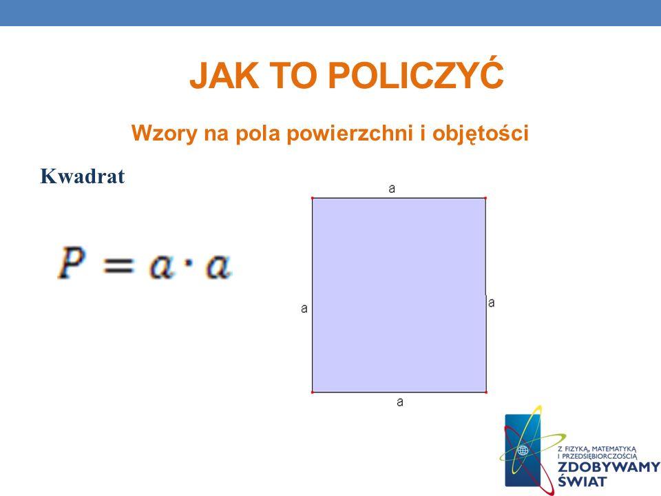 JAK TO POLICZYĆ Wzory na pola powierzchni i objętości Kwadrat