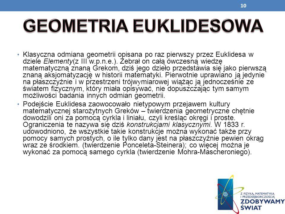 10 Klasyczna odmiana geometrii opisana po raz pierwszy przez Euklidesa w dziele Elementy(z III w.p.n.e.). Zebrał on całą ówczesną wiedzę matematyczną