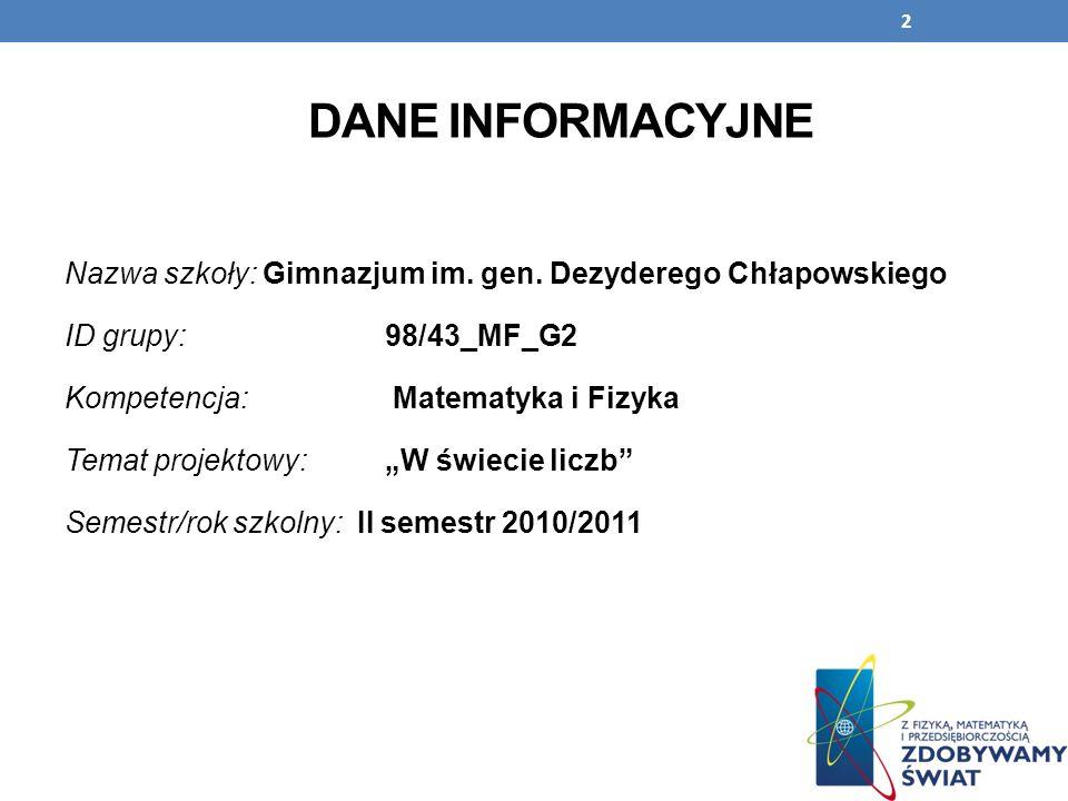 2 DANE INFORMACYJNE Nazwa szkoły: Gimnazjum im. gen. Dezyderego Chłapowskiego ID grupy: 98/43_MF_G2 Kompetencja: Matematyka i Fizyka Temat projektowy: