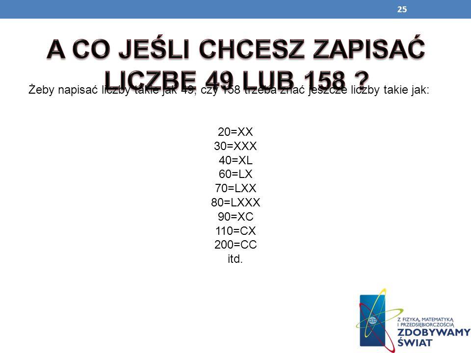 25 Żeby napisać liczby takie jak 49, czy 158 trzeba znać jeszcze liczby takie jak: 20=XX 30=XXX 40=XL 60=LX 70=LXX 80=LXXX 90=XC 110=CX 200=CC itd.