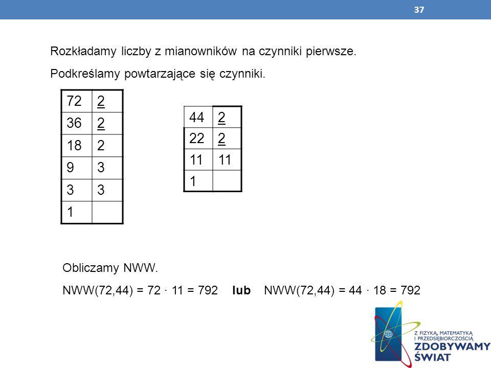 37 Rozkładamy liczby z mianowników na czynniki pierwsze. Podkreślamy powtarzające się czynniki. 722 362 182 93 33 1 442 222 11 1 Obliczamy NWW. NWW(72